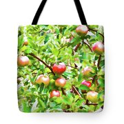 Trees With Red Apples In An Orchard Tote Bag