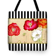 Trendy Red Poppy Floral Black And White Stripes Tote Bag