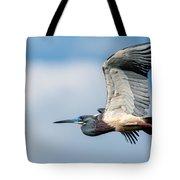Tri-colored Heron In Flight Tote Bag