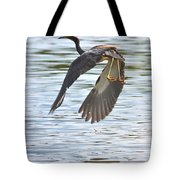 Tri Colored Heron Over The Pond Tote Bag