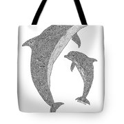 Tribal Bottle Nose Dolphin And Calf Tote Bag by Carol Lynne