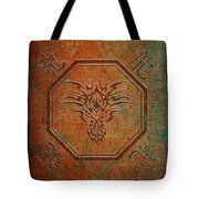 Tribal Dragon Head In Octagon With Dragon Chinese Characters Distressed Finish Tote Bag