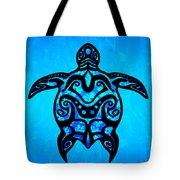 Tribal Turtle Hibiscus Tote Bag