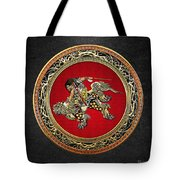 Tribute To Hokusai - Shoki Riding Lion  Tote Bag