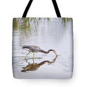 Tricolored Heron Grabs A Bite Tote Bag