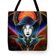 Trilia Red Nebula Fractal Art Portrait Tote Bag