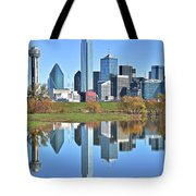 Trinity Park Water Reflects The Big D Tote Bag