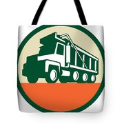 Triple Axle Dump Trunk Low Angle Circle Retro Tote Bag