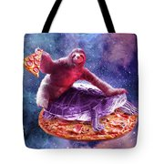 Trippy Space Sloth Turtle - Sloth Pizza Tote Bag