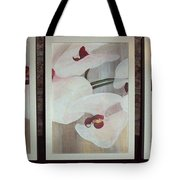 Triptic White Orchids On Light Background Tote Bag