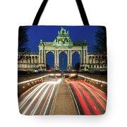 Arcade Du Ciquantenaire At Blue Hour Tote Bag by Barry O Carroll