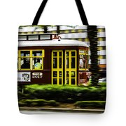 Trolley Car In Motion, New Orleans, Louisiana Tote Bag