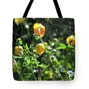 Trollius Europaeus Spring Flowers In The Rain Tote Bag