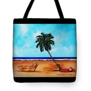 Tropical Beach Scene Tote Bag