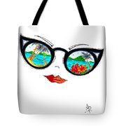 Tropical Cat Eyes Sunglass Reflection Aroon Melane 2015 Collection By Madart Tote Bag