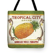 Tropical City Pineapple Tote Bag by Debbie DeWitt