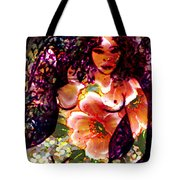 Tropical Flower Girl Tote Bag