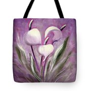 Tropical Flowers In Purple Tote Bag