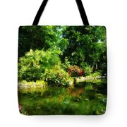 Tropical Garden By Lake Tote Bag