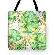Tropical Haze Blanche Variegated Monstera Leaves, Golden Palm Fronds On Black Tote Bag