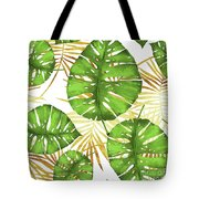 Tropical Haze Green Monstera Leaves And Golden Palm Fronds Tote Bag