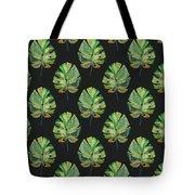 Tropical Leaves On Black- Art By Linda Woods Tote Bag