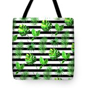 Tropical Leaves Pattern In Watercolor Style With Stripes Tote Bag