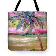 Tropical Sunset In Pink With Palm Tree Tote Bag