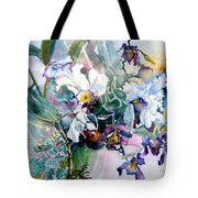 Tropical White Orchids Tote Bag