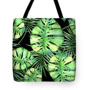 Tropics Noir, Tropical Monstera And Palm Leaves At Night Tote Bag