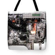 Truck Diesel Engine Isolated On White  Tote Bag