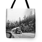 Truck On Foggy Highway Tote Bag