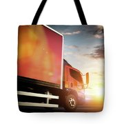 Truck Speeding On The Highway. Transportation Tote Bag