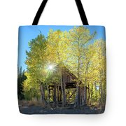 Truckee Shack Near Sunset During Early Autumn With Yellow And Green Leaves On The Trees Tote Bag