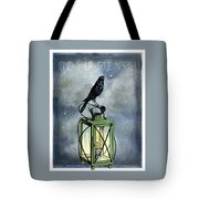 True North Crow Sits On The Night Lantern Tote Bag