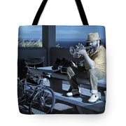 Trumpet Player Playing The Blues Fermin Point Los Angeles In Infrared Tote Bag