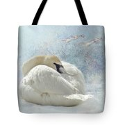 Trumpeter Textures #1 - Swan Feather Tote Bag by Patti Deters