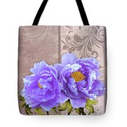Tryst, Lavender Blue Peonies Still Life Flowers Tote Bag