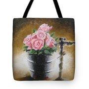 Tub Of Roses Tote Bag