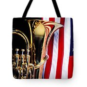 Tuba And American Flag Tote Bag by Garry Gay