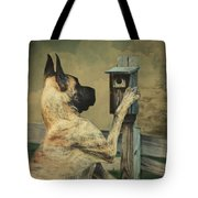 Tucker And The Birdhouse Tote Bag