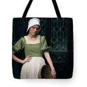 Tudor Woman Outside A Timber Building  Tote Bag