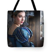 Tudor Woman With Puffed Sleeves And French Hood Facing A Window  Tote Bag