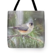 Tufted Titmouse - A Winter Delight Tote Bag
