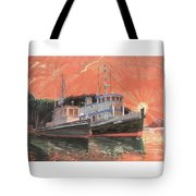 Tug Boats Anchored In Red Sky Tote Bag