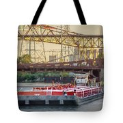 Tug Derek E And Barge On The Calumet River Tote Bag