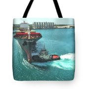 Tugboat At Freeport, Grand Bahamas Harbor Tote Bag