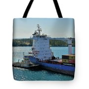 Tugboat Helping Container Ship Out Of Harbor Tote Bag