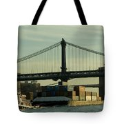 Tugboat Pulling A Barge On The East Tote Bag