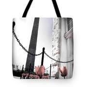 Tuilps And The Washington Monument  Tote Bag